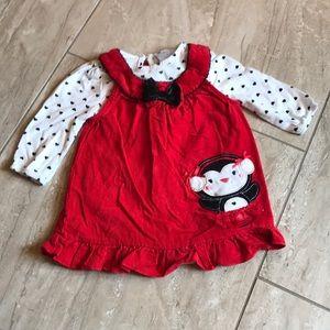 Nanette corduroy red jumper dress with penguin